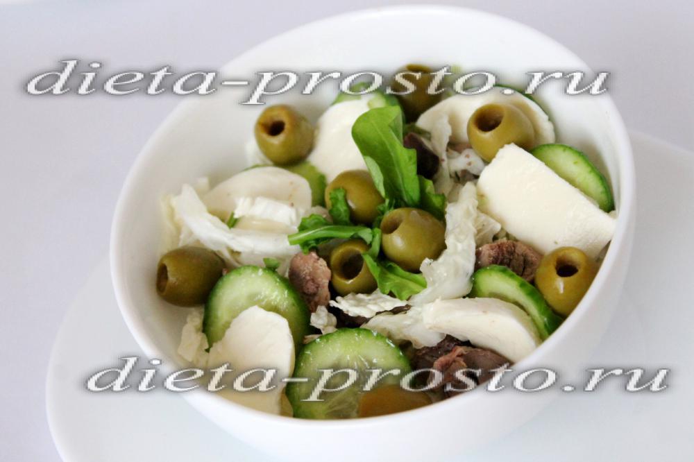 Диетический салат с куриной печенью рецепт с