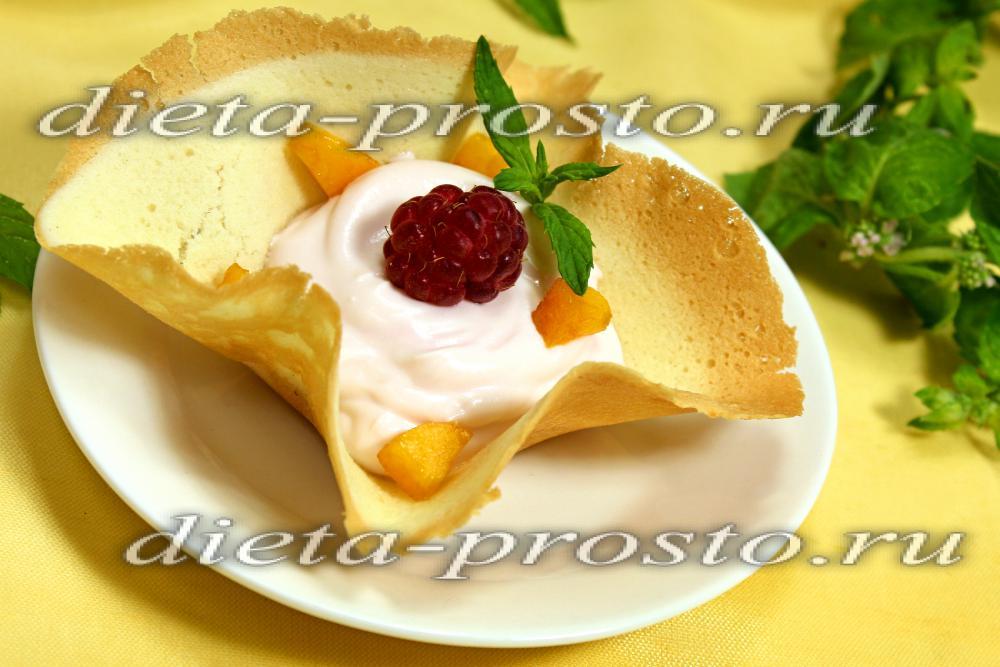 Тарталетки с творожным кремом и фруктами рецепт