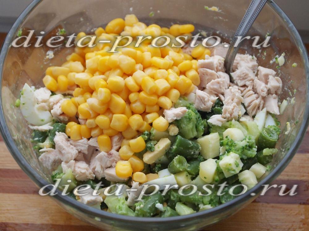 рецепт диетического салата курицей