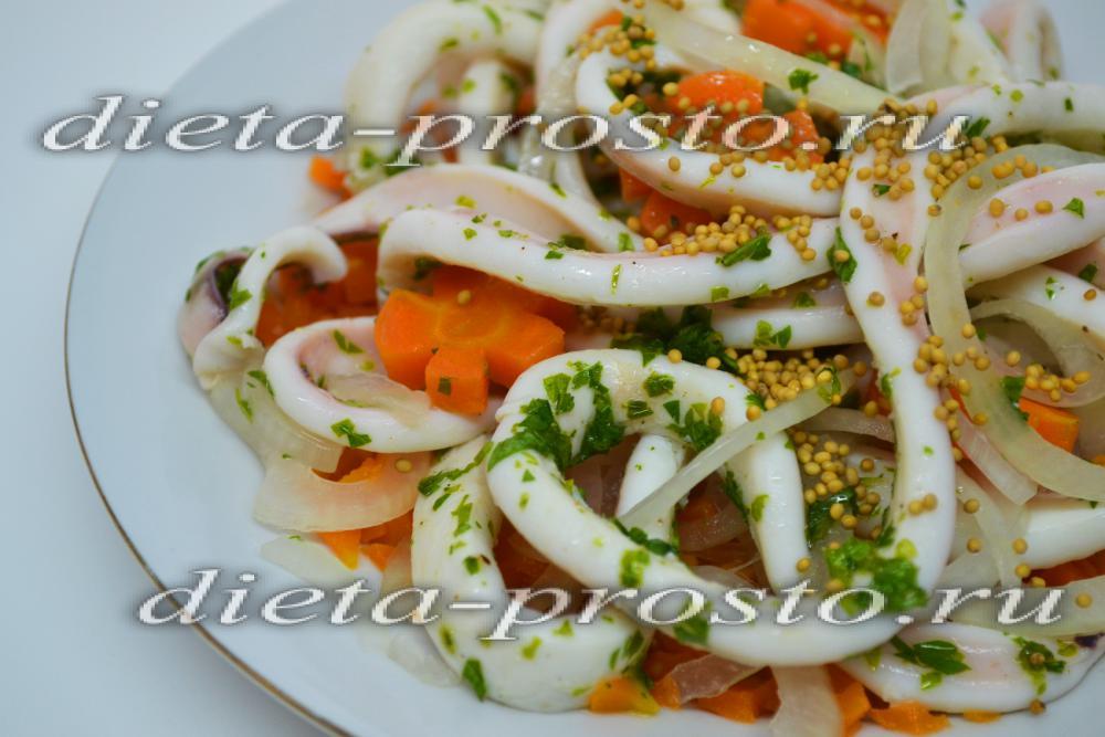 Салат из кальмаров с луком рецепт с очень вкусный