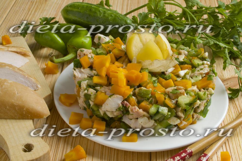 рецепт салата с копченой курицей грудкой