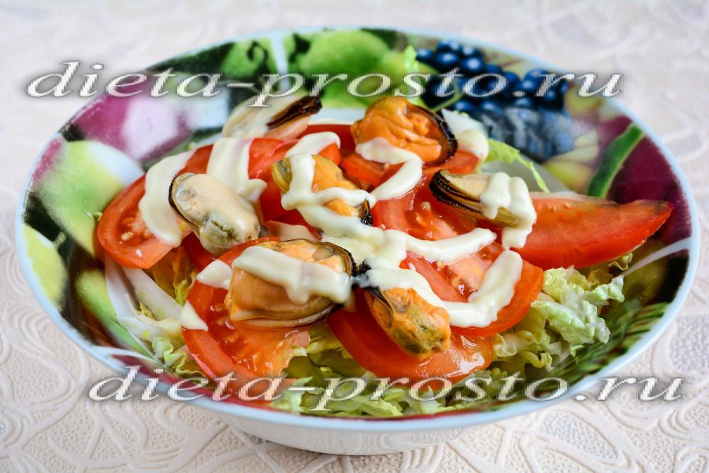 Салат с пекинской капустой и мидиями рецепт