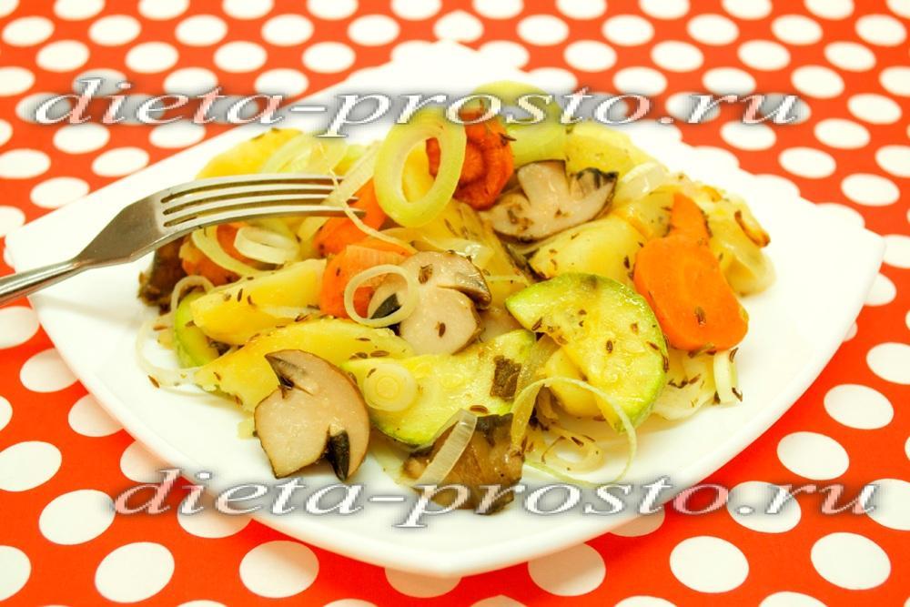 рецепт запеченных овощей в духовке с мясом и