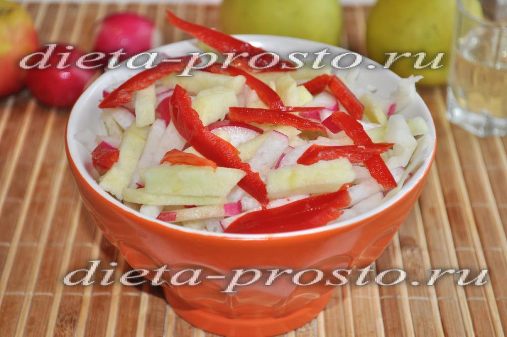 салат из свежей капусты рецепт с яблоком и
