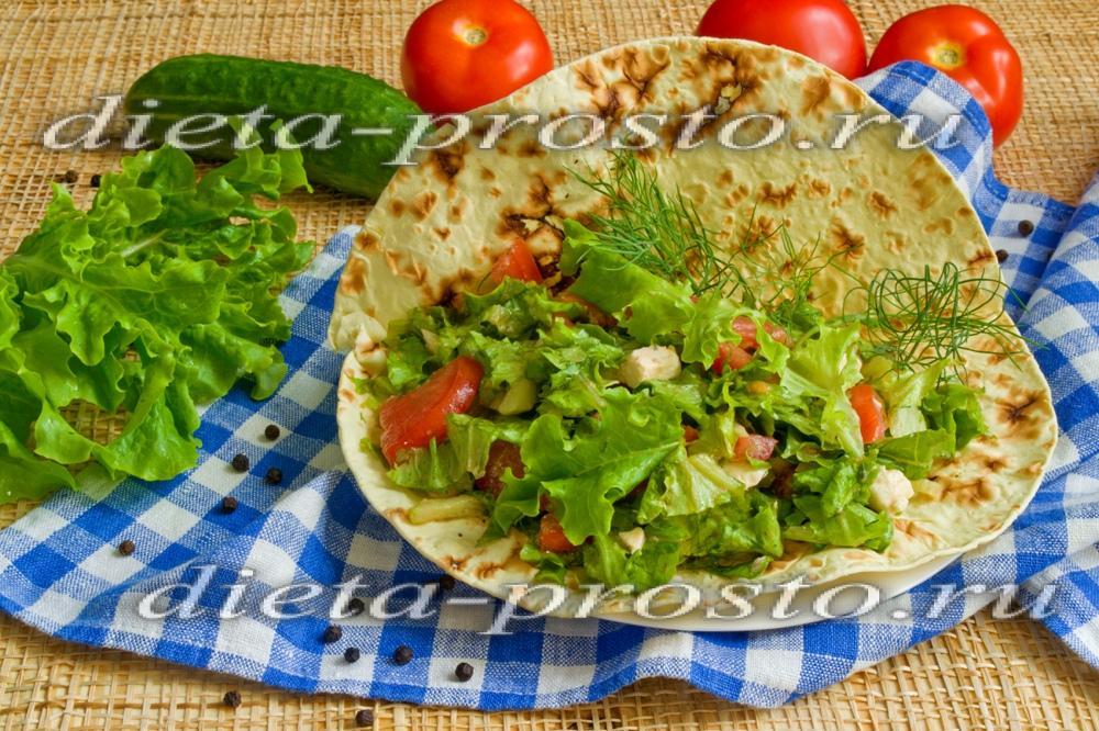Овощной салат в лаваше рецепт