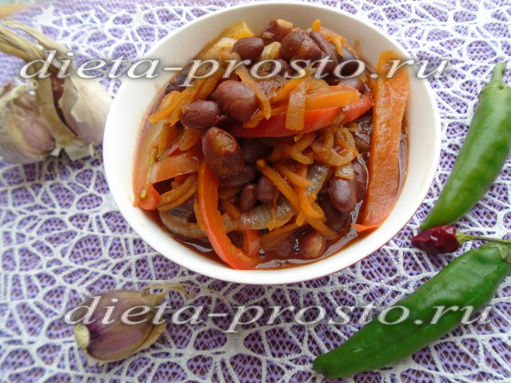 Тушеная фасоль в томате рецепт