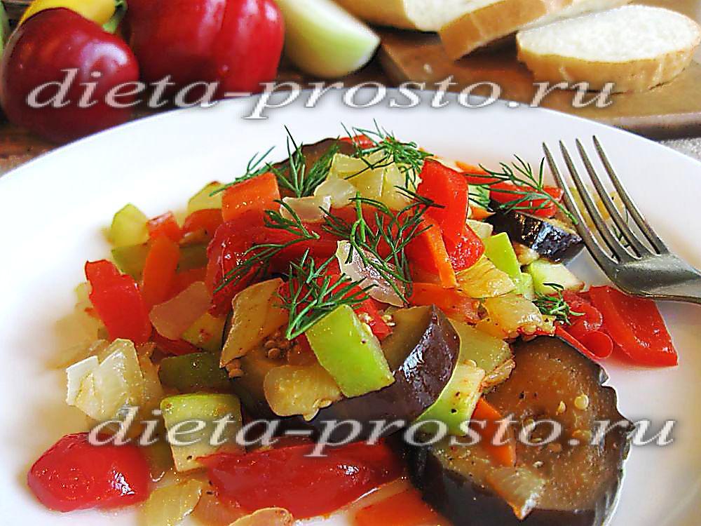 рецепт овощного рагу с курицей и грибами в мультиварке