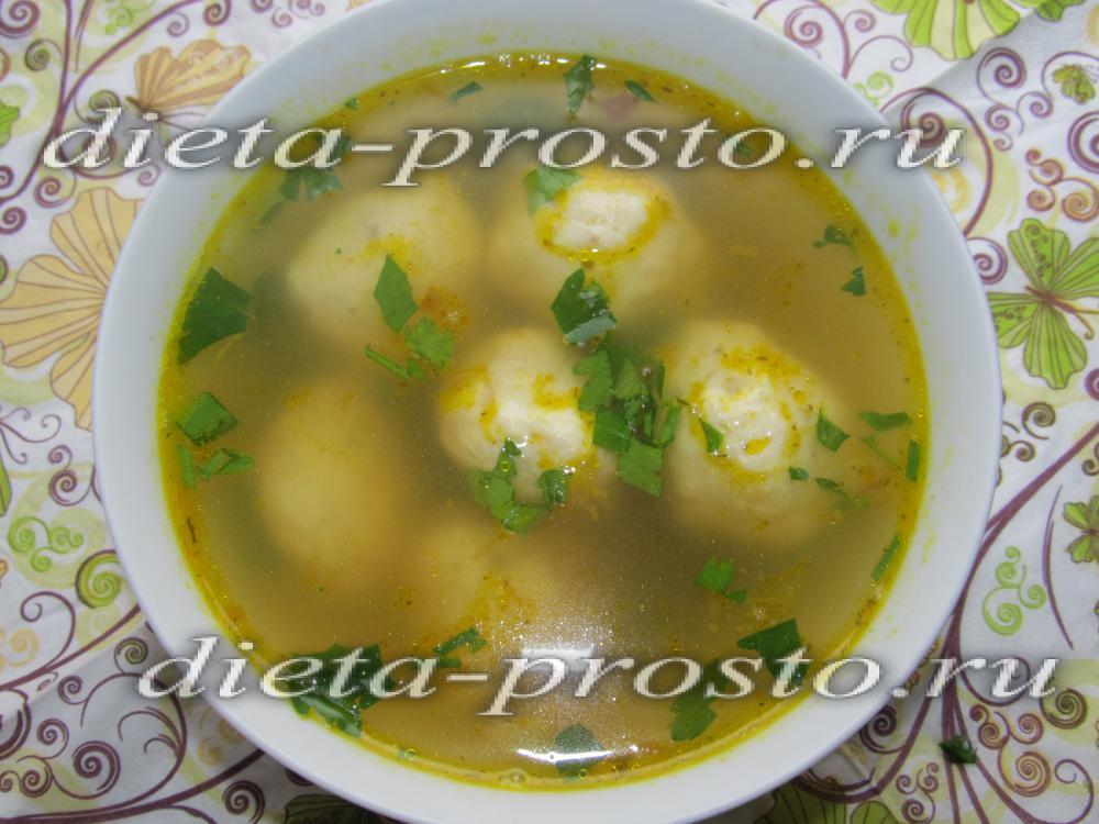 Суп с фрикадельками на дюкане