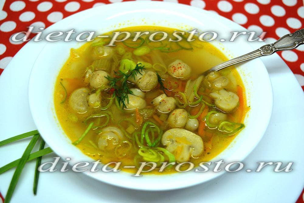 Грибной суп в диете дюкана