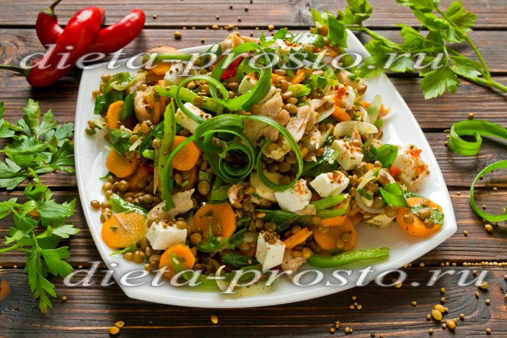 Диетический салат с курицей рецепт пошагово в