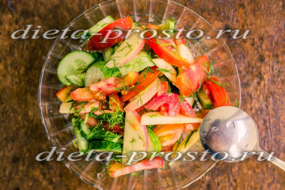 как приготовить диетический салат из помидоров и огурцов