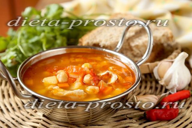 Густой суп с курицей и нутом