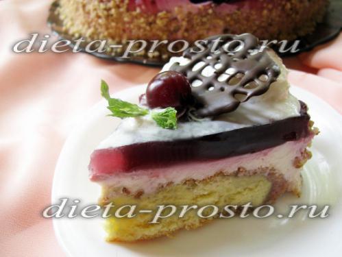 Диетический торт с творогом и вишневым желе