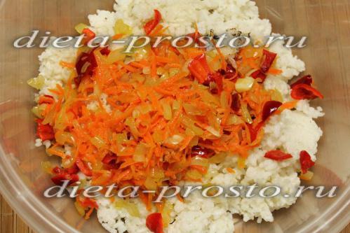 Смешаем рис с овощами