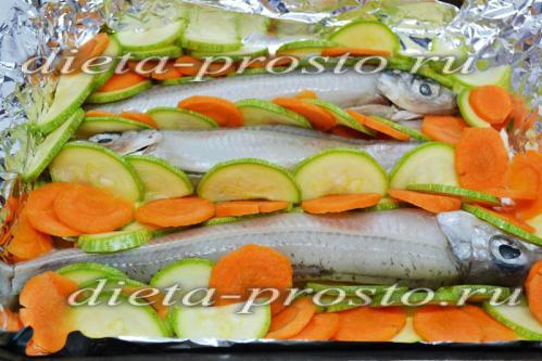 Выложить овощи на противень
