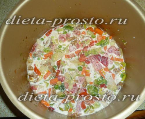 Заливание овощей смесью