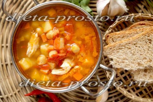 Суп с курицей и нутом, рецепт с фото