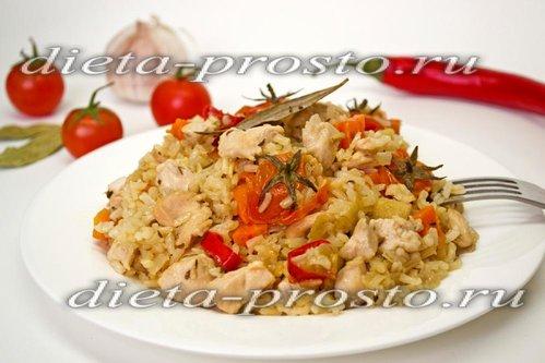 Бурый рис с курицей и пряностями (3, 4 этап диеты Дюкана)