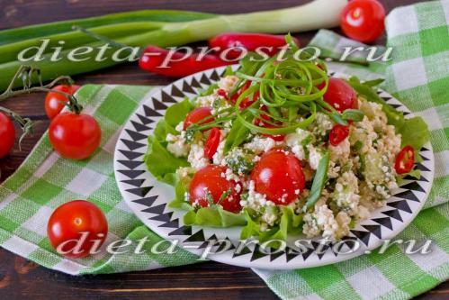 Овощной салат с творогом по Дюкану
