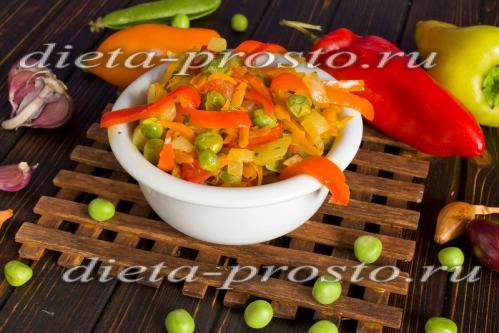 Овощное рагу со сладким перцем и помидорами (3 и 4 этап диеты)